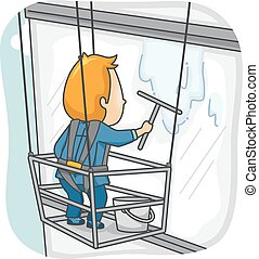Window Washer - Illustration Featuring a Man Cleaning the...