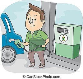 Biofuel - Illustration Featuring a Man Filling His Cars Tank...