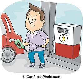 Gas Refuelling - Illustration Featuring a Man Filling His...