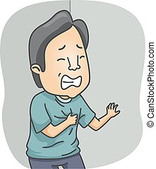 Heart Attack - Illustration Featuring a Man Having a Heart...