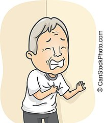 Senior Heart Attack - Illustration Featuring an Elderly Man...
