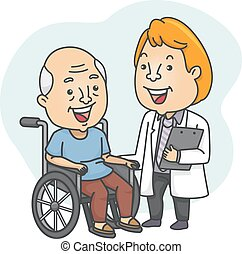 Wheelchaired Patient - Illustration Featuring a Doctor...