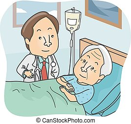Senior Patient - Illustration Featuring a Doctor Checking Up...