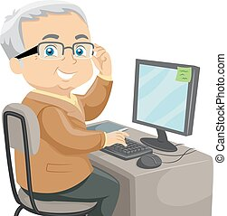 Senior Computer - Illustration Featuring an Elderly Male...