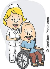 Nurse and Patient - Illustration Featuring a Nurse Pushing a...