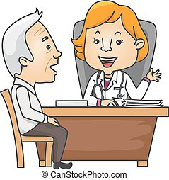 Medical Consultation - Illustration Featuring an Elderly Man...