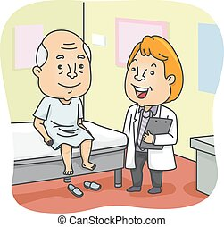 Senior Check Up - Illustration Featuring an Elderly Man...
