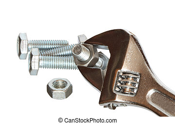 Work Tools - Closeup of spanner with bolts and screw nut....