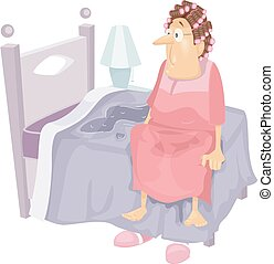 Senior Incontinence - Illustration Featuring an Elderly...