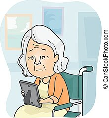 Homesick Granny - Illustration Featuring a Granny in a...