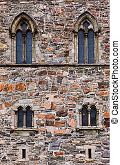 Windows in fortress wall - Bergen Norway - architecture...