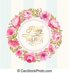 Flower garland. - Border of flowers in vintage style with...