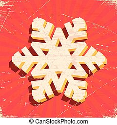 Scratched vintage card with 3D christmas snowflake