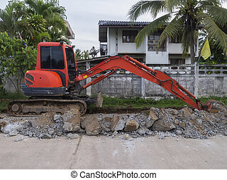 Backhoe - Excavator road construction works