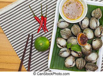 Cockle - Blanched cockles with seafood sauce seafood, Thai...
