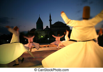 mevlana museum silhoutte - mevlana museum and dervishes