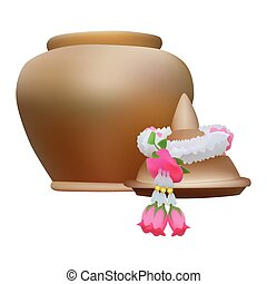 Clay pot with garland - Vector illustration clay pot with...