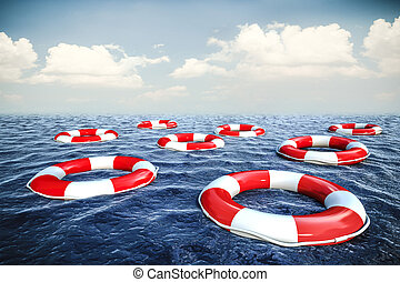 3d life buoyS and blue ocean with blue sky background