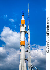 space rocket at start bed - space rocket ready to go at the...