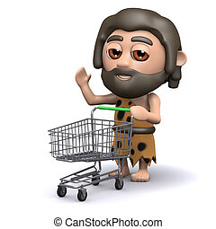 3d Caveman has an empty shopping trolley - 3d render of a...