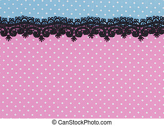 Polka dot fabric with black lace background and texture