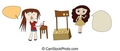 Sweet Food Shop - Vector illustration of girl buying sweet...