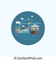 Icon with colored cargo container ship and cargo crane,...