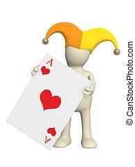 Joker - 3d joker, holding in a hand of a red ace