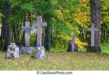 vieux, pierre, croix, sur, graves, ,