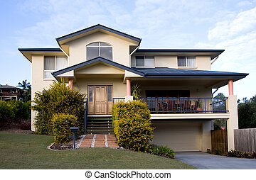Modern two storey house - View of a modern two storey house...