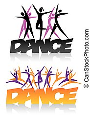 Dance sign with dance icons - Word dance with silhouettes of...