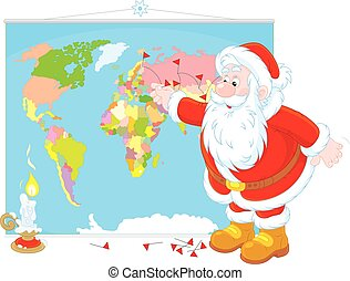Santa Claus with a world map - Father Frost planning his...