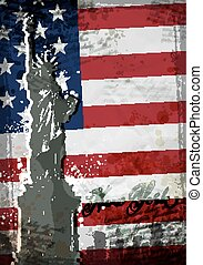 statue of Liberty. United States flag. Vector illustration