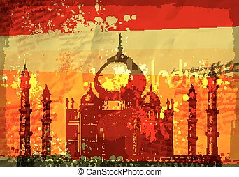 Taj Mahal, India, vintage hand drawn vector illustration -...