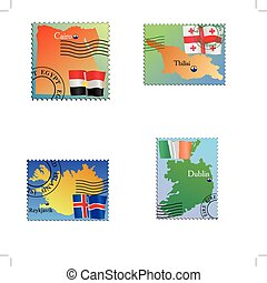 capital Egypt, Geargia, Iceland, Irland - Vector stamp with...