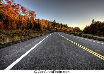Autumn Colors and road in Algonquin Park Ontario Canada