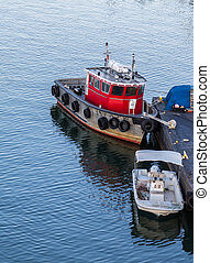 Small Boats in Calm Harbor near Boston - Small colorful...