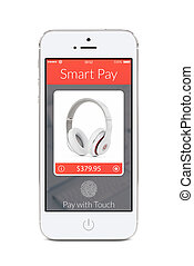 Front view of white smart phone with smart pay application...