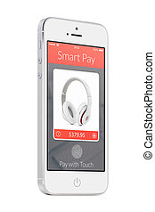White modern mobile smart phone with smart pay application...