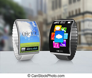 couple ultra-thin curved screen smartwatch with metal...