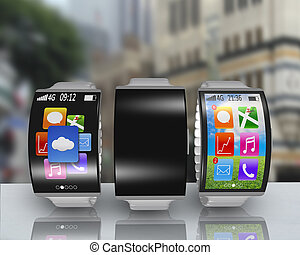 group of ultra-lightweight curved screen smartwatch with...