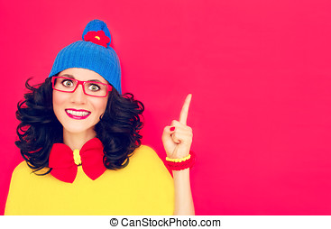 funny girl with index finger - fashion portrait of funny...