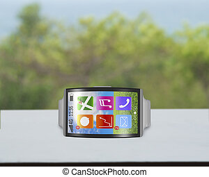 ultra-thin bent interface smartwatch horizontal with metal...