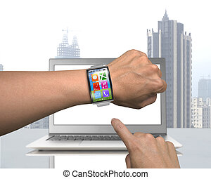 male hand wearing smartwatch with metal watchband on laptop...