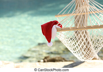 Hammock on a tropical beach resort in christmas holidays...