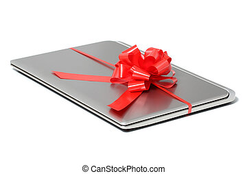 Laptop gift with a red ribbon isolated on a white background