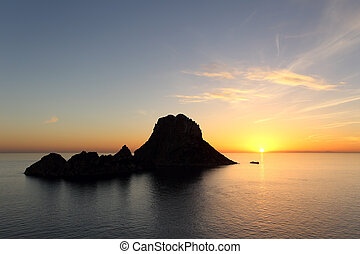 Sunset on Es Vedra in Ibiza island - Seascape of sunset on...