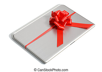 Top view of a laptop gift with a red ribbon isolated on a...
