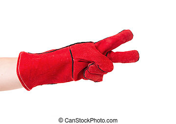 Two fingers in heavy-duty red glove Isolated on a white...