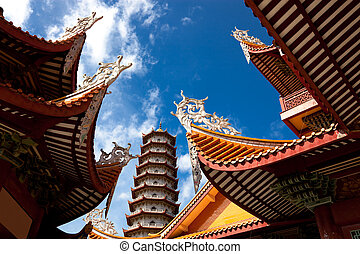 Chinese eaves of temple - Chinese eaves under blue sky in...